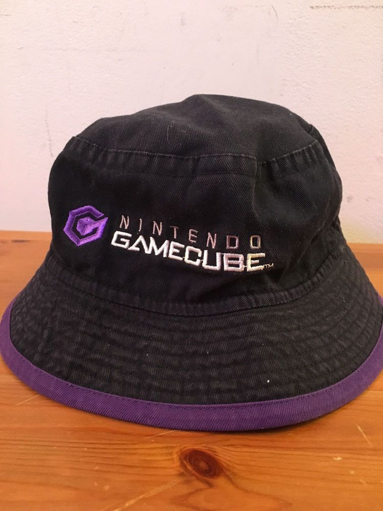 2058570aedc Nintendo Gamecube Bucket Hat Black   Purple GC RARE Cap Game Cube Mario  Zelda  Nintendo