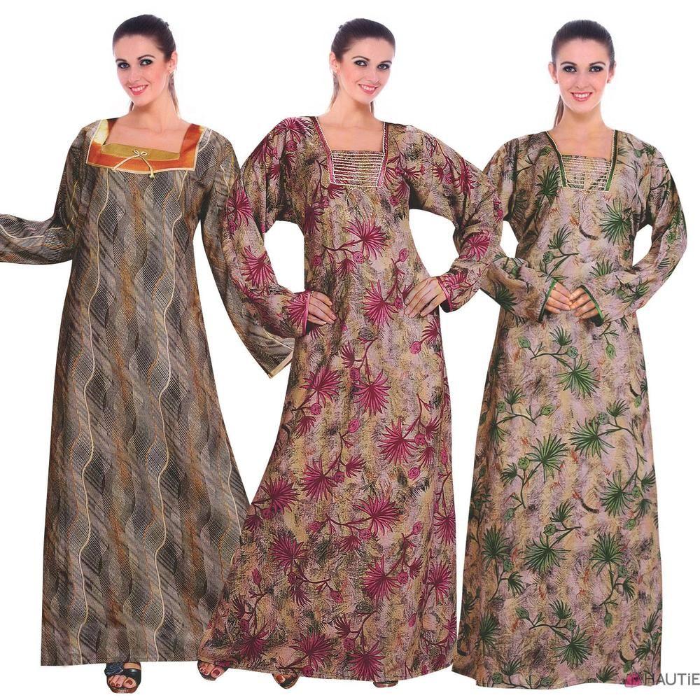 Ladies printed long nightie womens full sleeve plus size nightwear 18-26 b277f6abf2