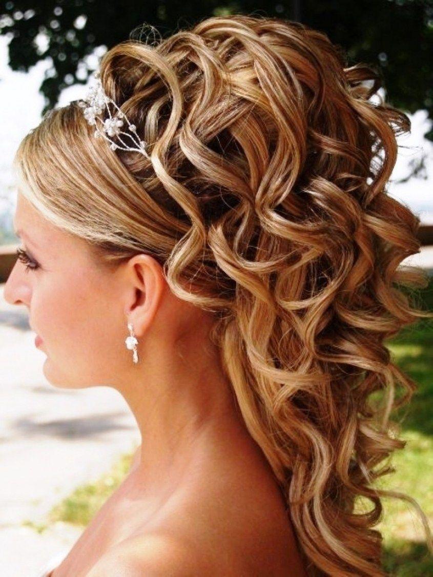 up half down wedding hairstyles for medium length hair in ...