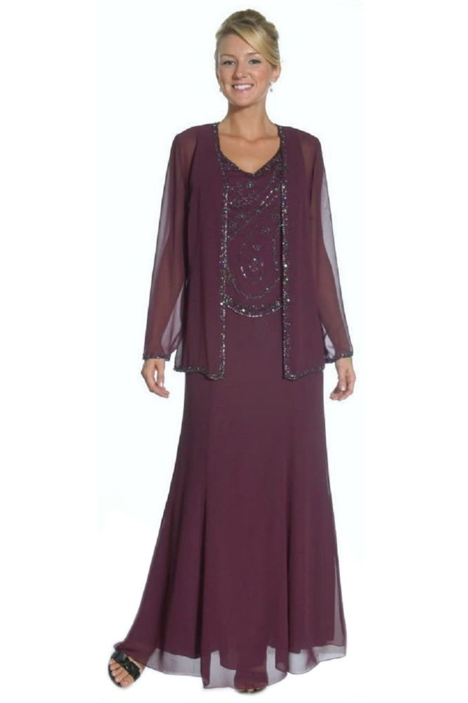 Formal Modest Mother Of The Bride Groom Dress Jacket Chiffon Plus