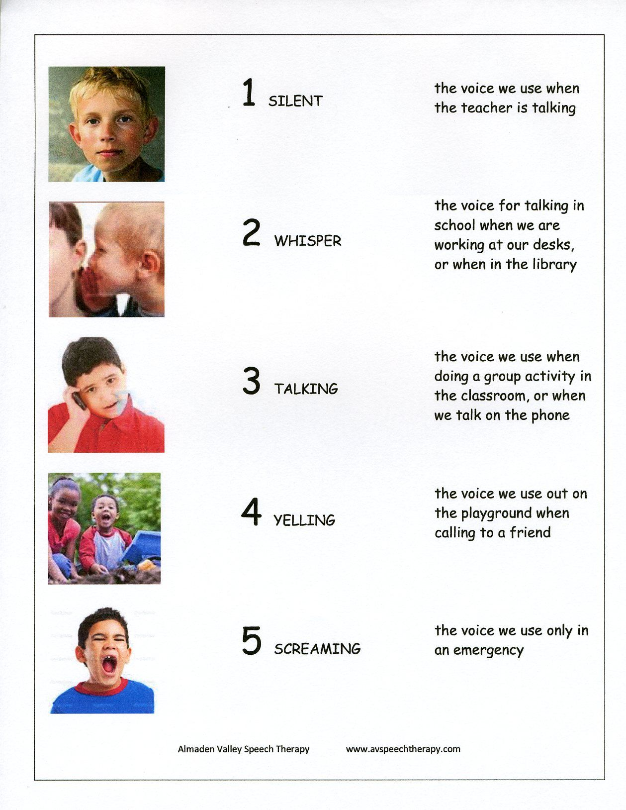 Teaching Classroom Voice Levels