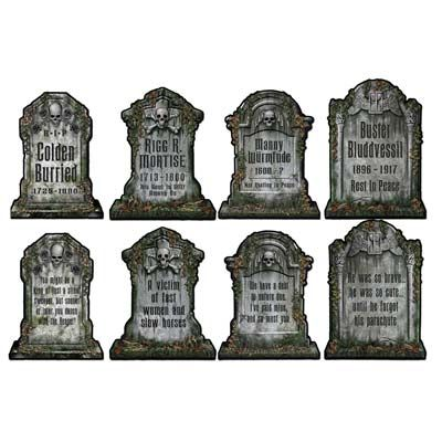 "Tombstone Cutouts 16""    Printed on both sides on thin cardboard. Different designs on front and back faces.     Not self-standing; for wall hanging."