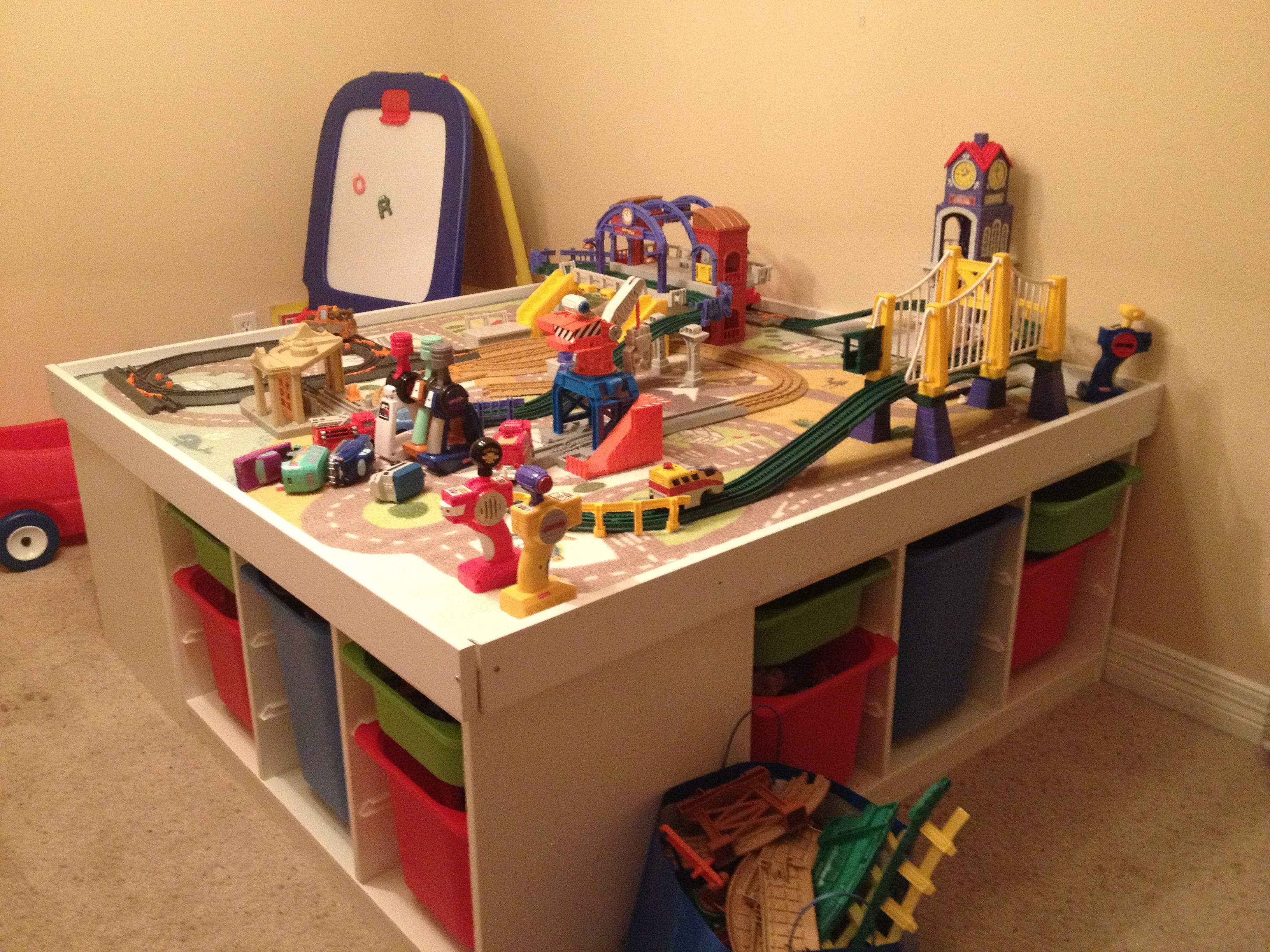 Ikea Train Table. Trofast, Particle Board, Screwdriver, Drill, Screws, And