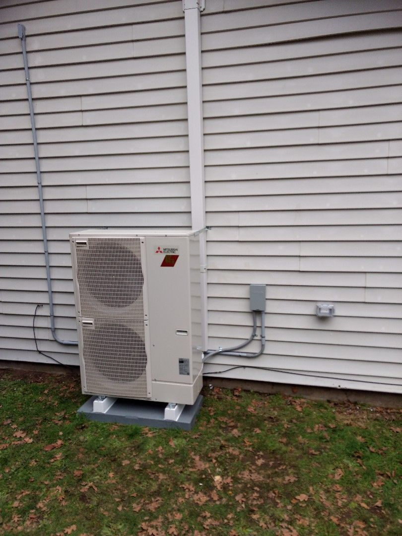 Energy efficient Mitsubishi heat pump with air handler