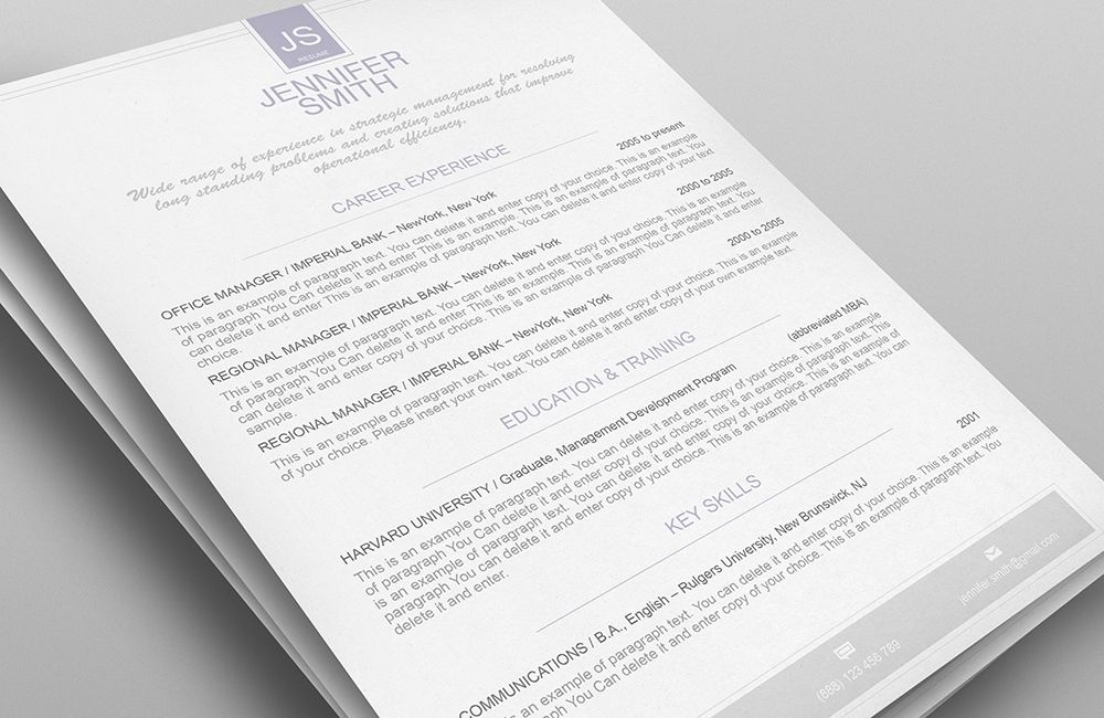 Elegant Resume Template Premium Line Of Resume