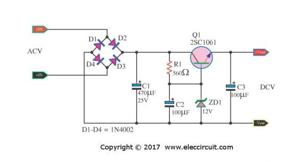 Small Zener Diode Voltage Regulator Circuit With Pcb Eleccircuit Com Power Supply Circuit Electronic Circuit Projects Power Supply