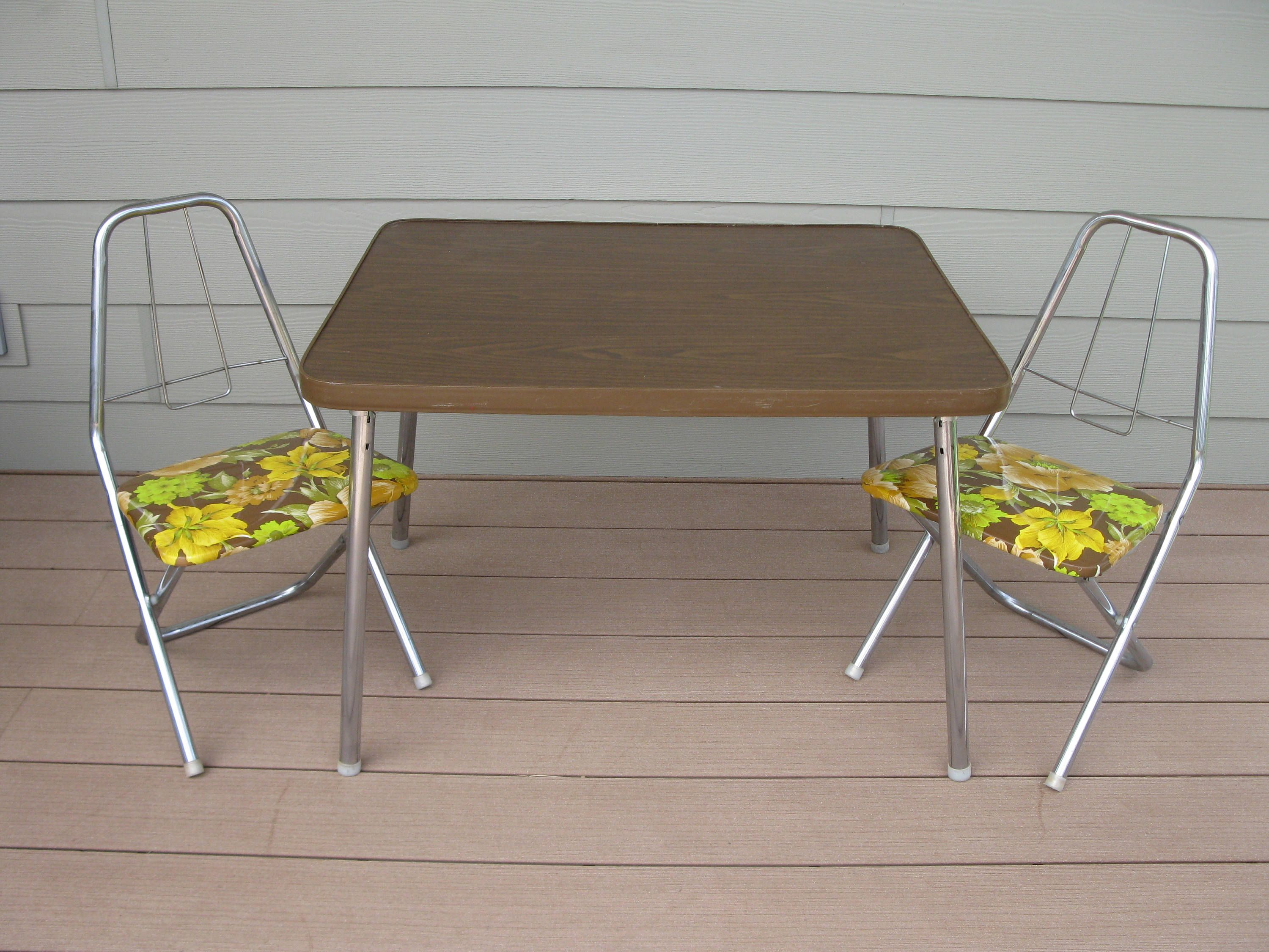 Vintage Childs Table and Chair set Folding Chairs CHROME