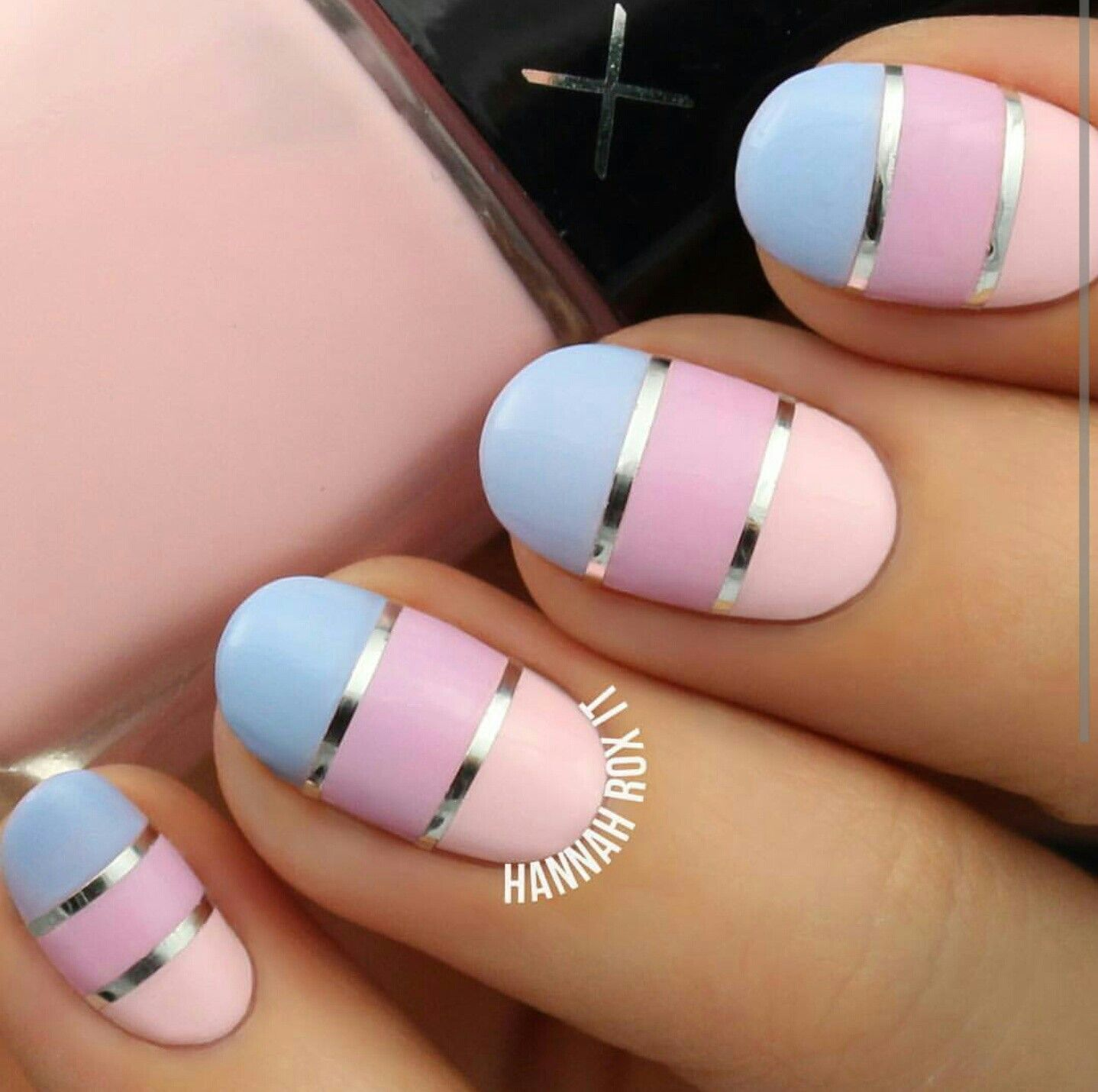 Pretty striping tape nail art | nail art | Pinterest | Tape nail art ...