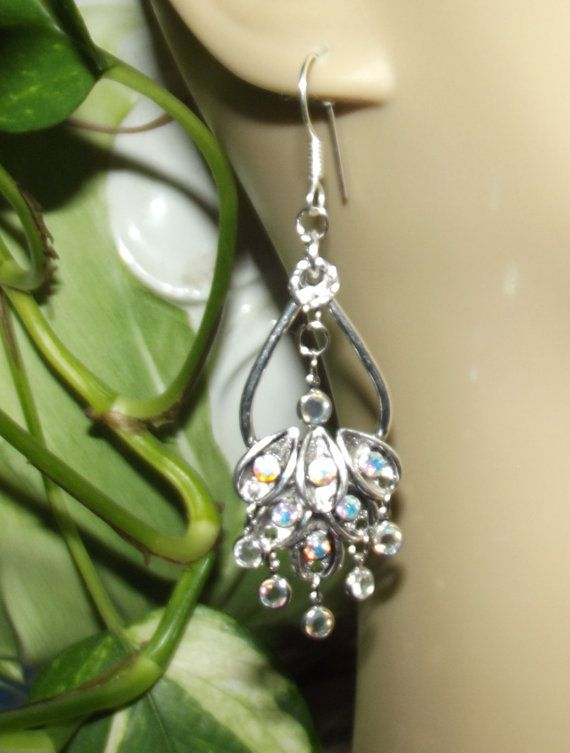 Waterfall Earrings Silver with Vintage by StoneForestJewels