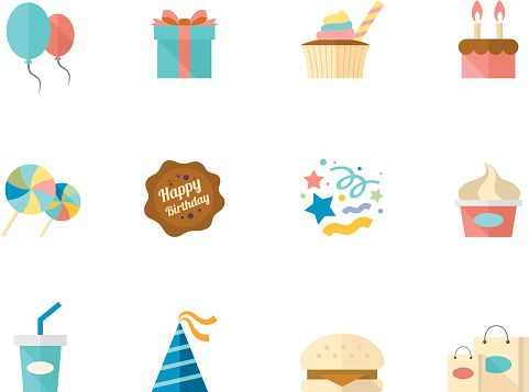 Vector Art : Flat Color Icons - Birthday
