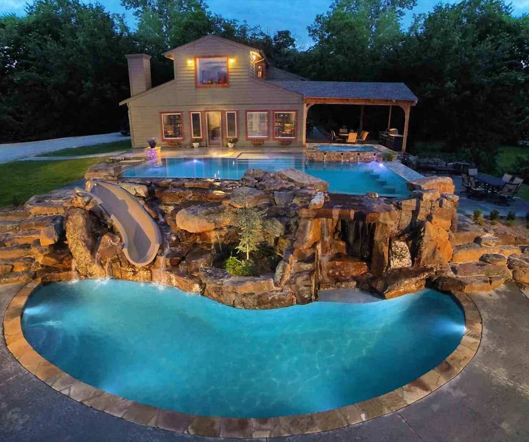 Amazing Tiered Pool With Slide Homes Mansion Mansions Luxury Lifestyle Architecture Realestate Luxury Dream Backyard Pool Pool Waterfall Backyard Pool