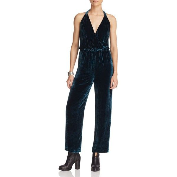 Free People Rumpled Silk Velvet Jumpsuit (£302) ❤ liked on Polyvore featuring jumpsuits, blue, free people jumpsuit, blue jumpsuit, blue jump suit, silk jumpsuit and jump suit