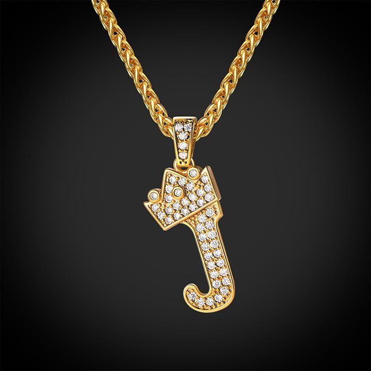 Iced Out Initial J Necklace Diamond Crown Wheat Chain Jewelry U7 Jewelry