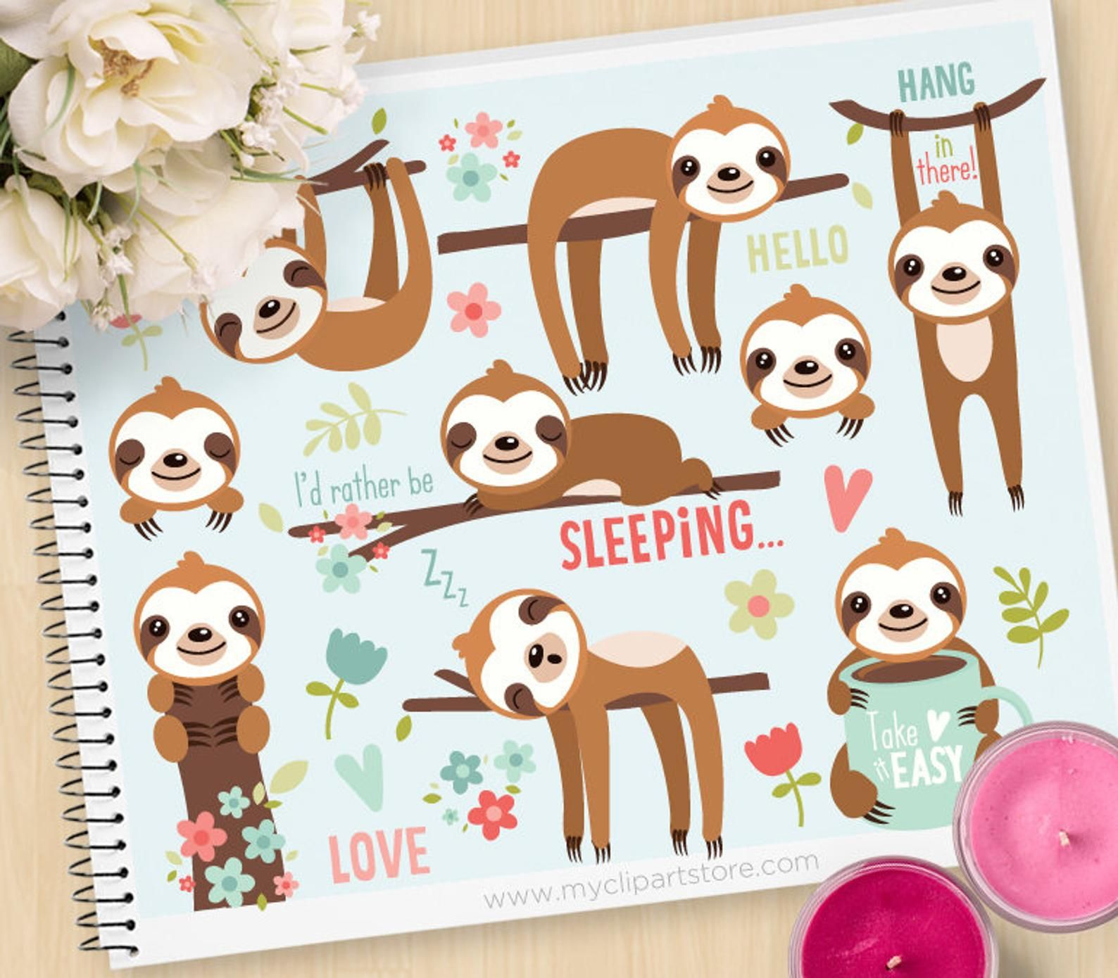 Cute Sloths Clipart, Sleeping, sloth, tree branch, spring