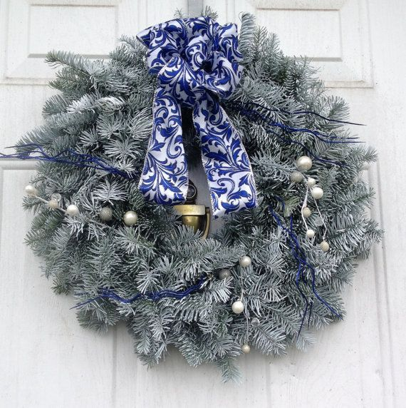 Premium Frosted Royal Blue and White Christmas Wreath by