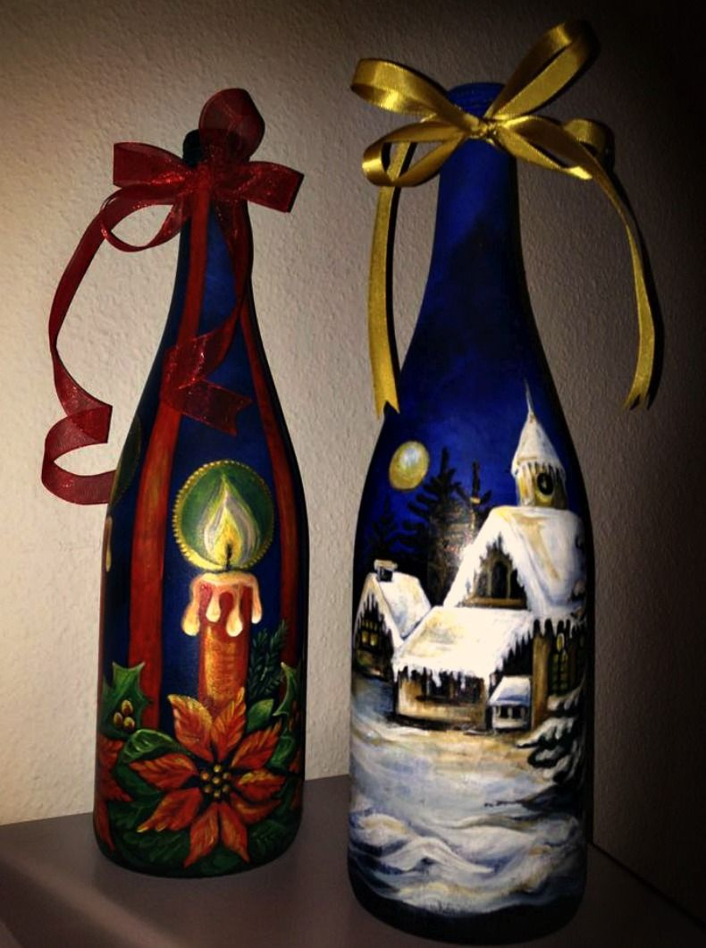 Christmas gifts decorated bottles of wine hand painted