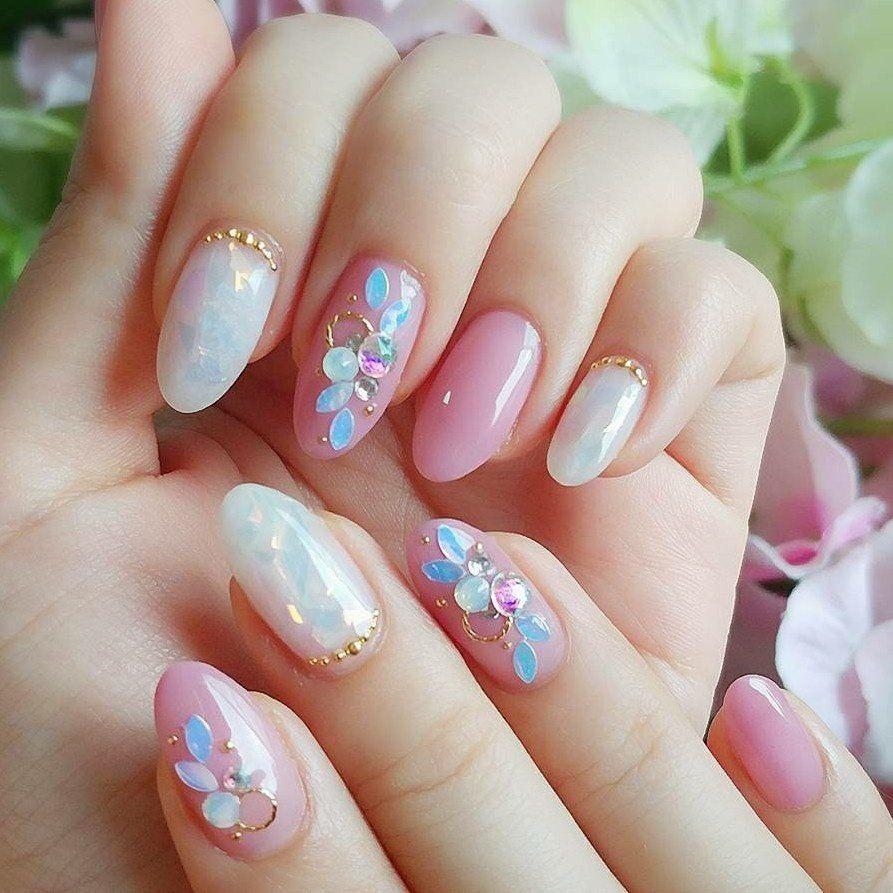 My nail ♥ リーフホログラム とオーロラフィルム