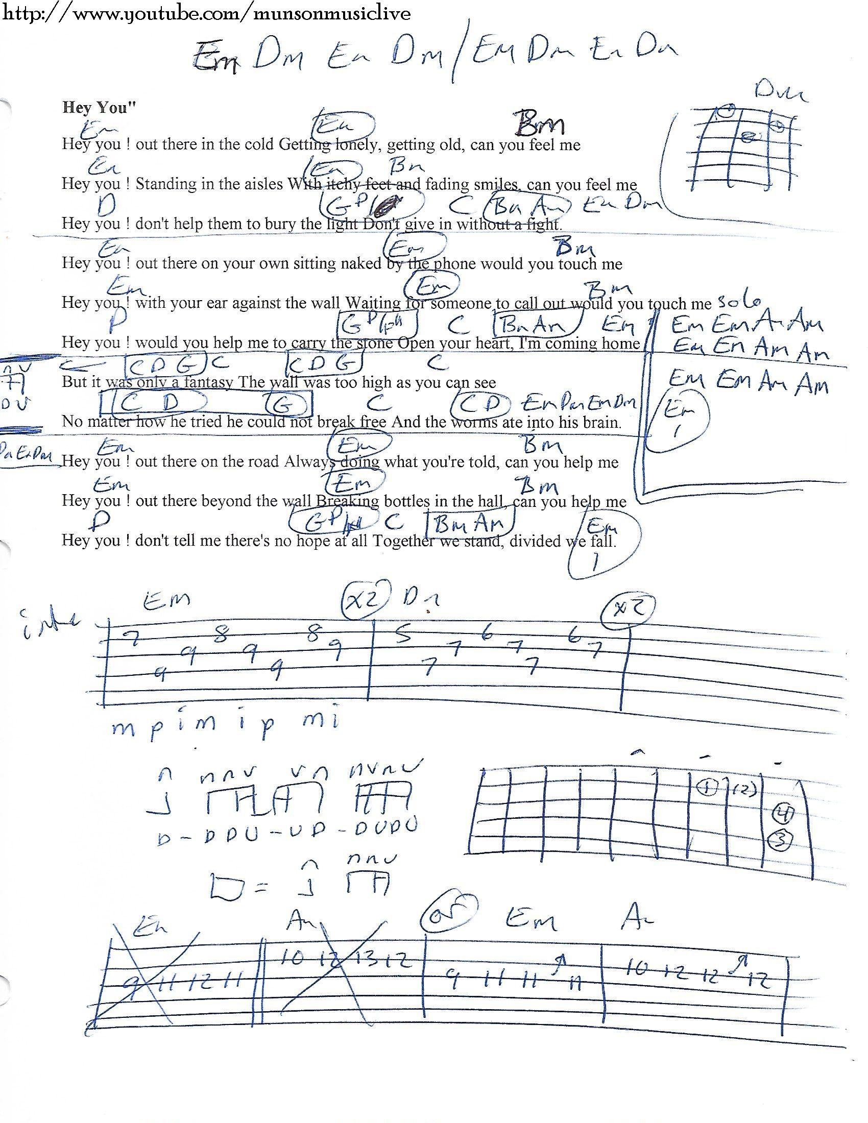 Hey You Pink Floyd Guitar Chord Chart Songs Pinterest Guitar
