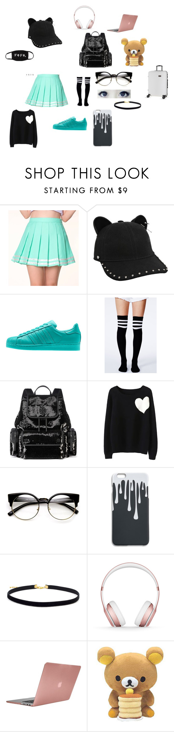 """Omw back to Korea from la"" by hannalove1234 ❤ liked on Polyvore featuring Karl Lagerfeld, Missguided, Tory Burch, WithChic, GUSTA, Beats by Dr. Dre, Incase and Dot-Drops"