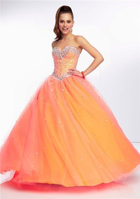 Gorgeous Ball Gown Sweetheart Long Orange Tulle Beaded Prom Dress ...