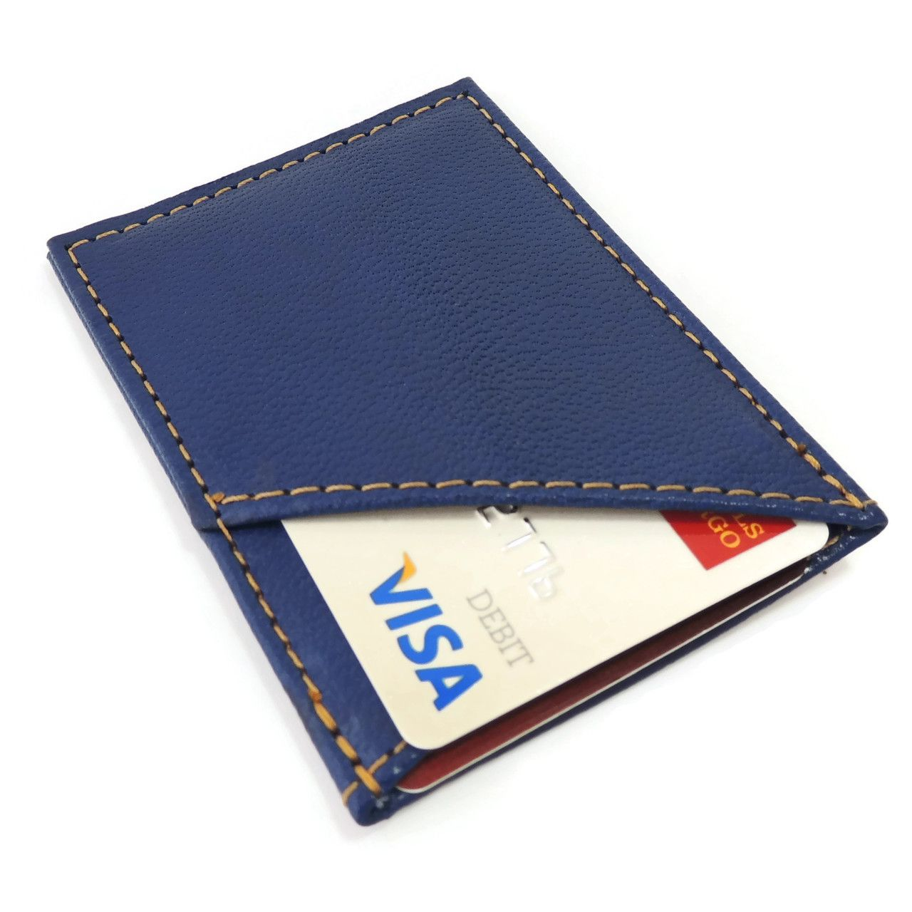 card case in blue leather  the card case is a modern