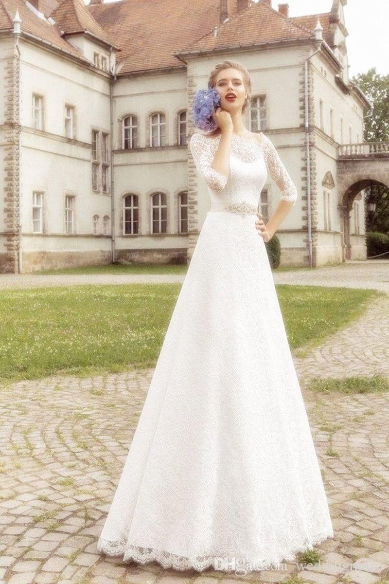 Sashes Sleeve Simple Beaded Three Wedding Bow Vintage Quarter Dress hCxtQdsr