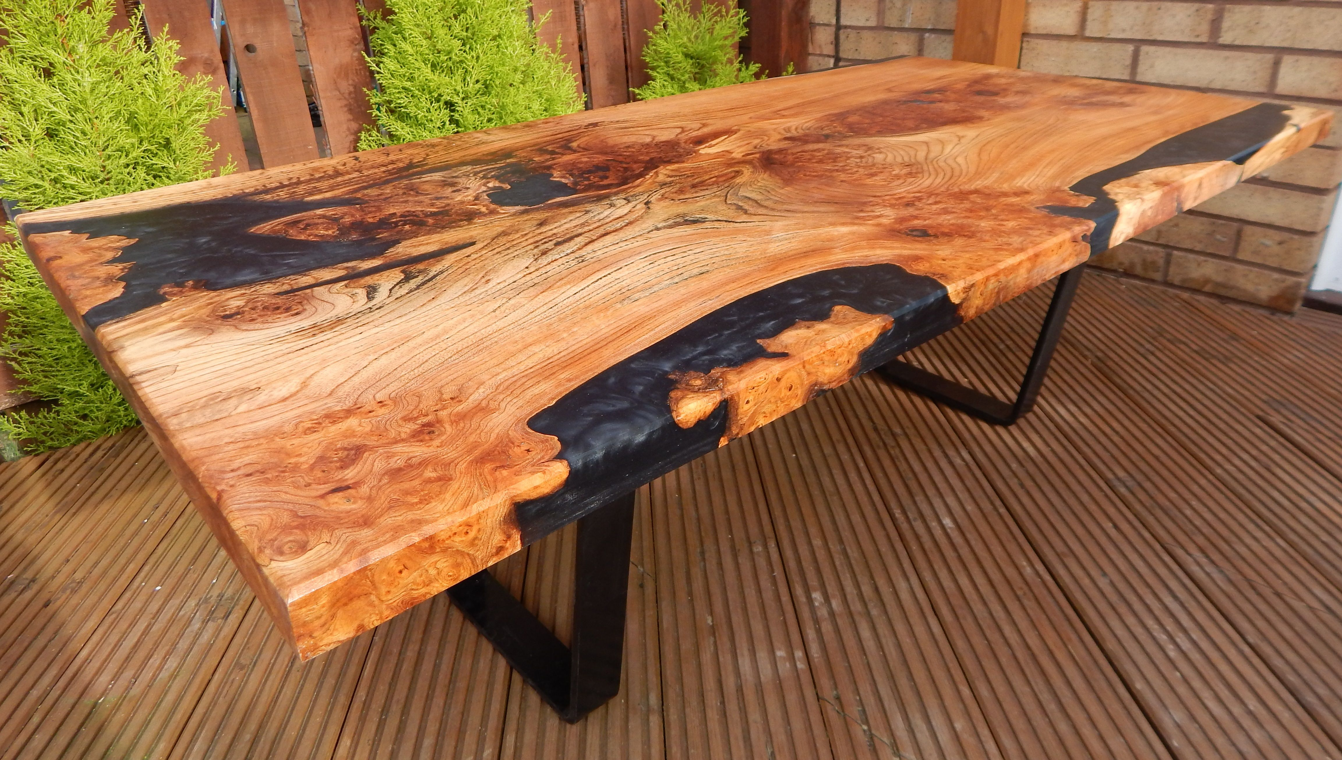 Resin Coffee Table Ready For Despatch Scottish Elm And Black