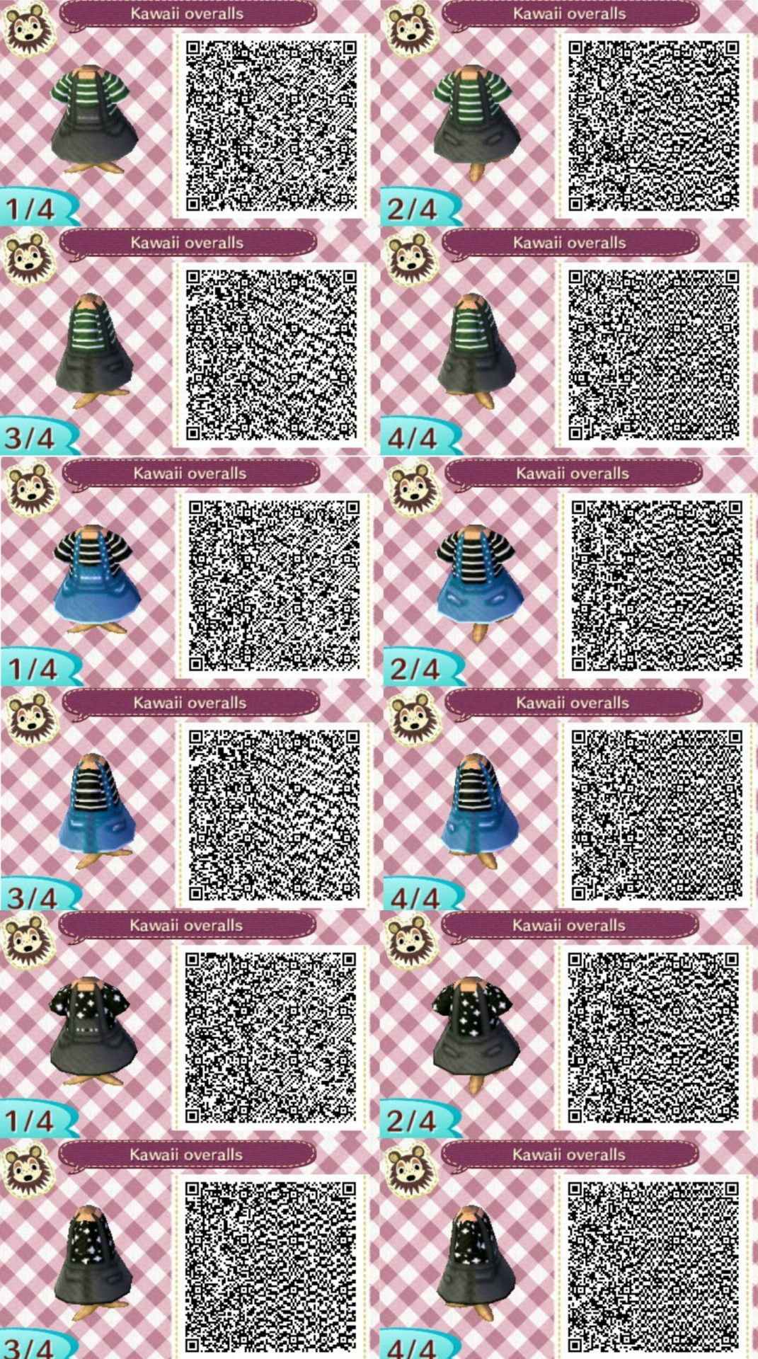 Here Are Some Overall Designs I Made Animal Crossing Qr