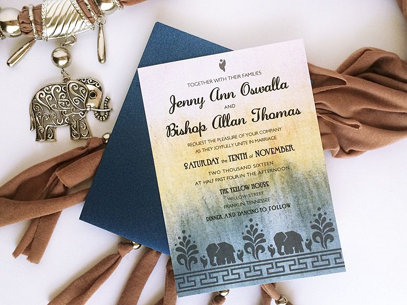 Free DIY Modern Indian Wedding Invitation With Elephants