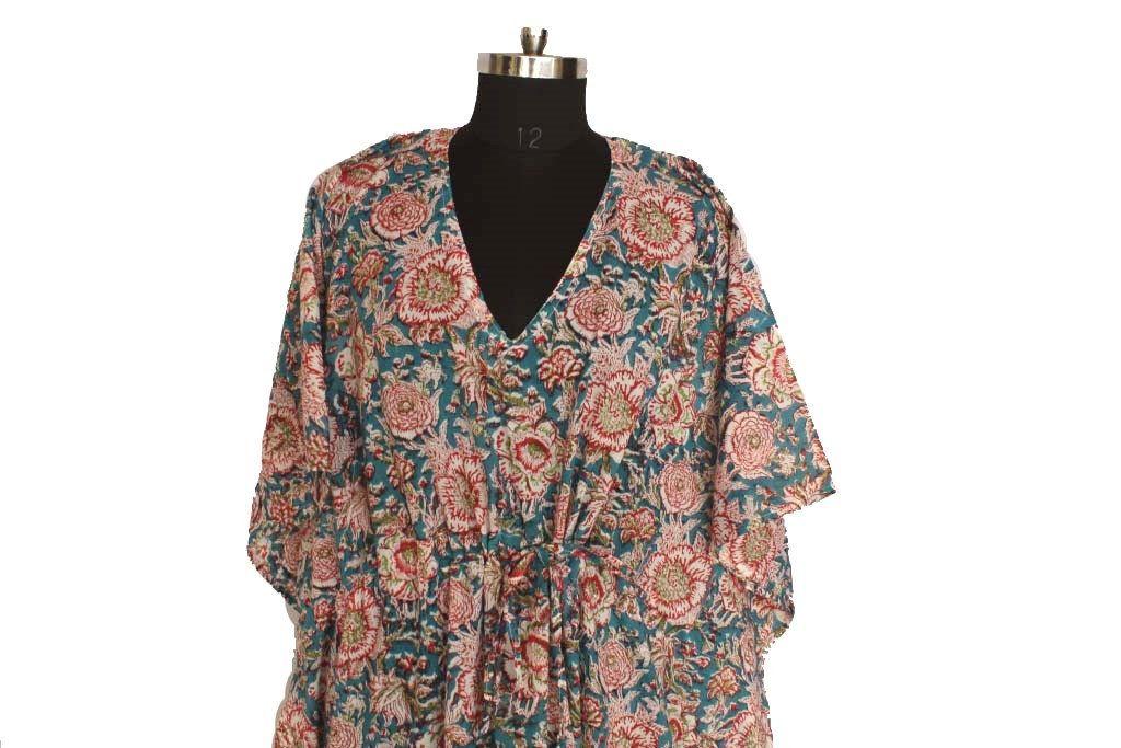 Maxi Dress Organic Kaftans Beach Wear Cotton Sleepwear Gifts for her Resort Wear Cotton kaftan Lounge Kaftan Block print kaftan