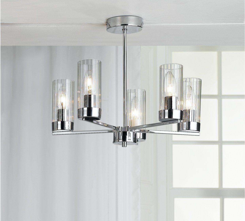 Home Wallis 5 Light Gl Ceiling Chrome