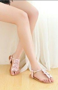 Bowknot Embellished Buckle Sandals Pink