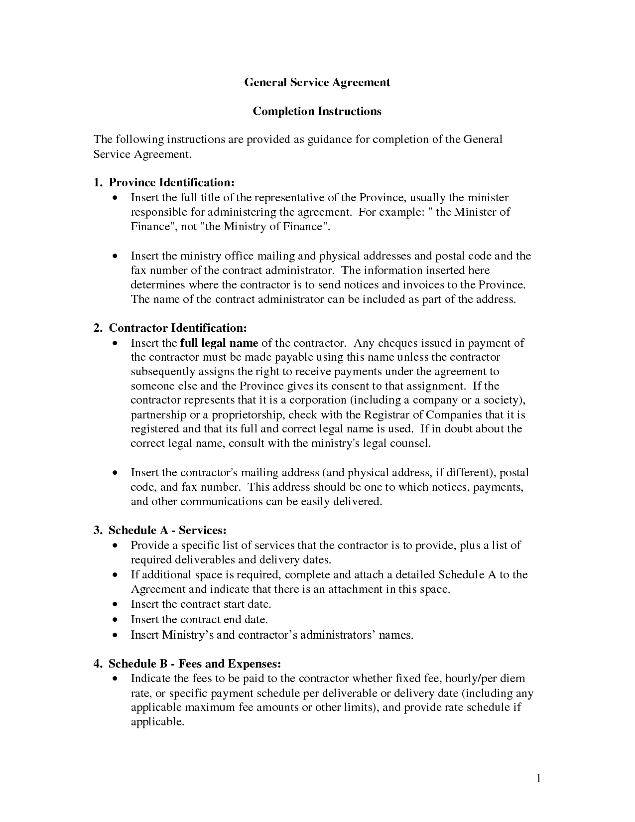 General Service Agreement Template By Banter General Contract For