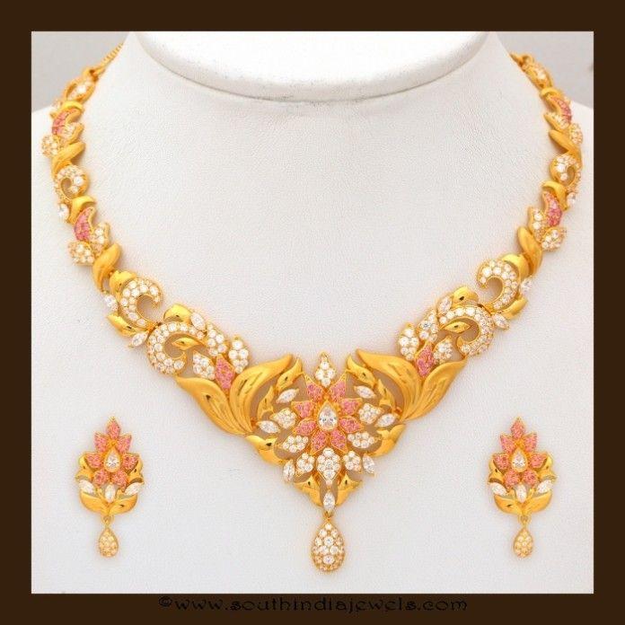 Gold Stone Necklace Set By Vbj Stone Necklace Necklace Set Jewelry