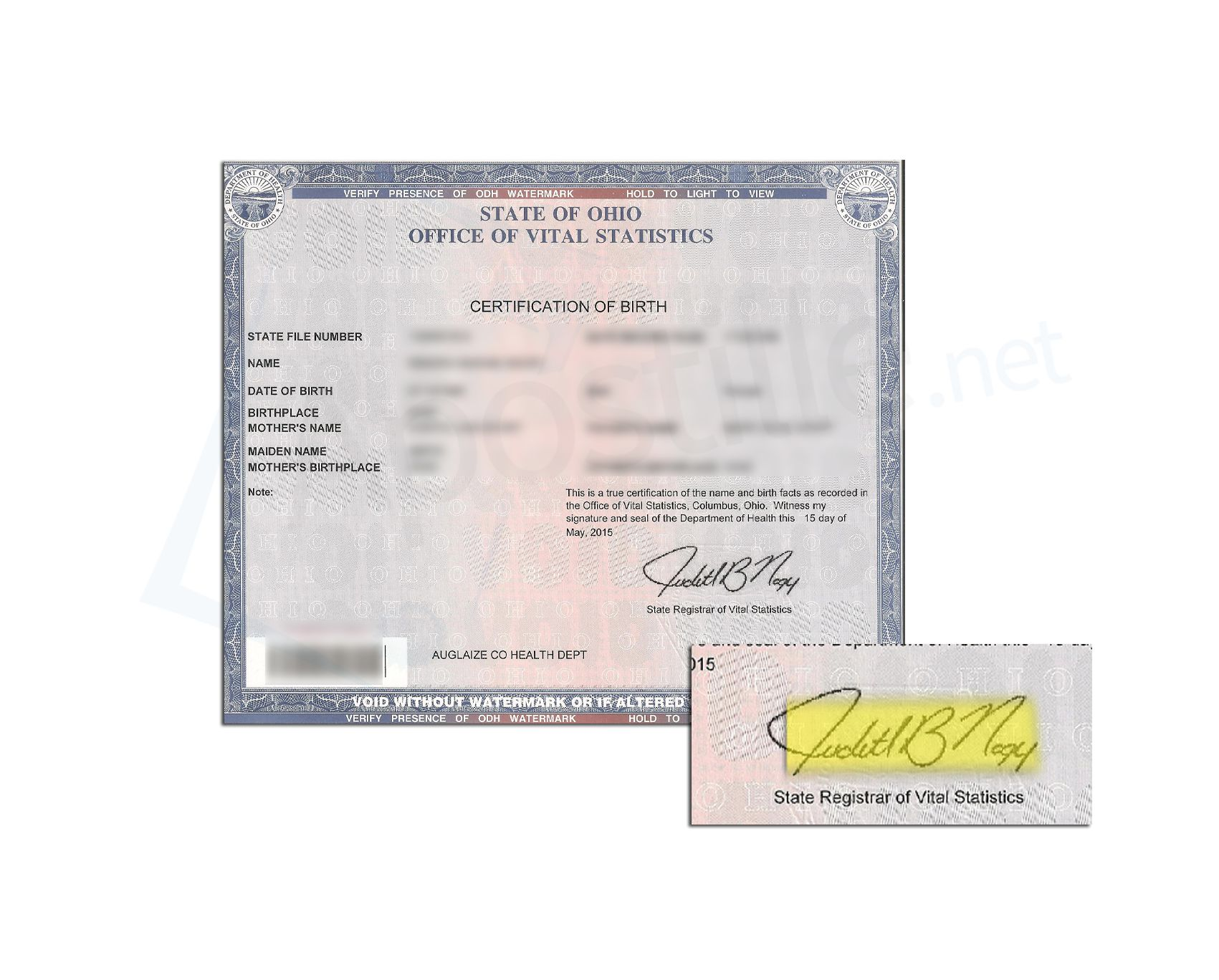 State Of Ohio Birth Certificate Issued By Judith B Nagy State Of Ohio Sample Apostille Ohio