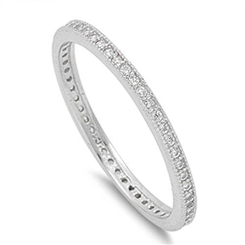 Cubic Zirconia Eternity Wedding Band 925 Sterling Silver Ring Size