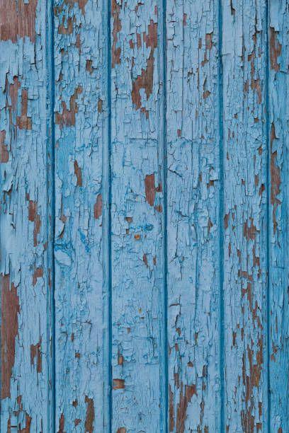 Blue Vintage Wood Background With Peeling Paint Horizontal