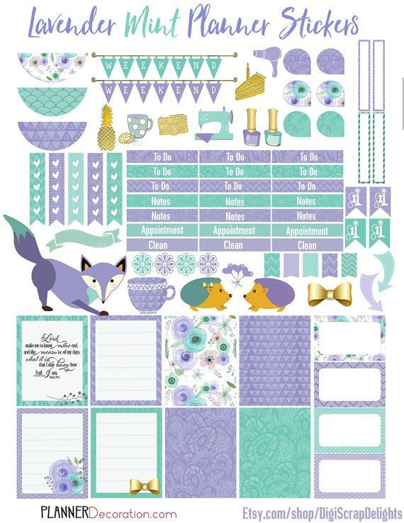 50% OFF TODAY Lavender Mint Printable Planner by DigiScrapDelights