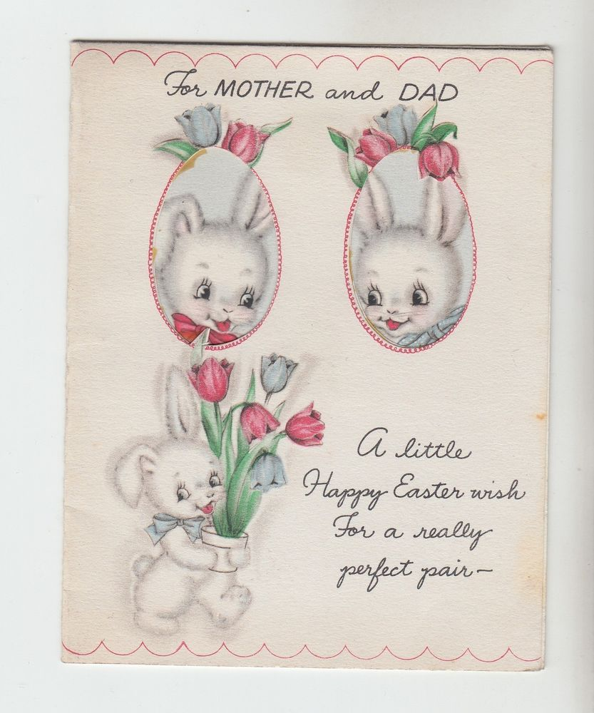 Vintage Bunnies With Flower Pot of Tulips To Mom and Dad Easter Greeting Card