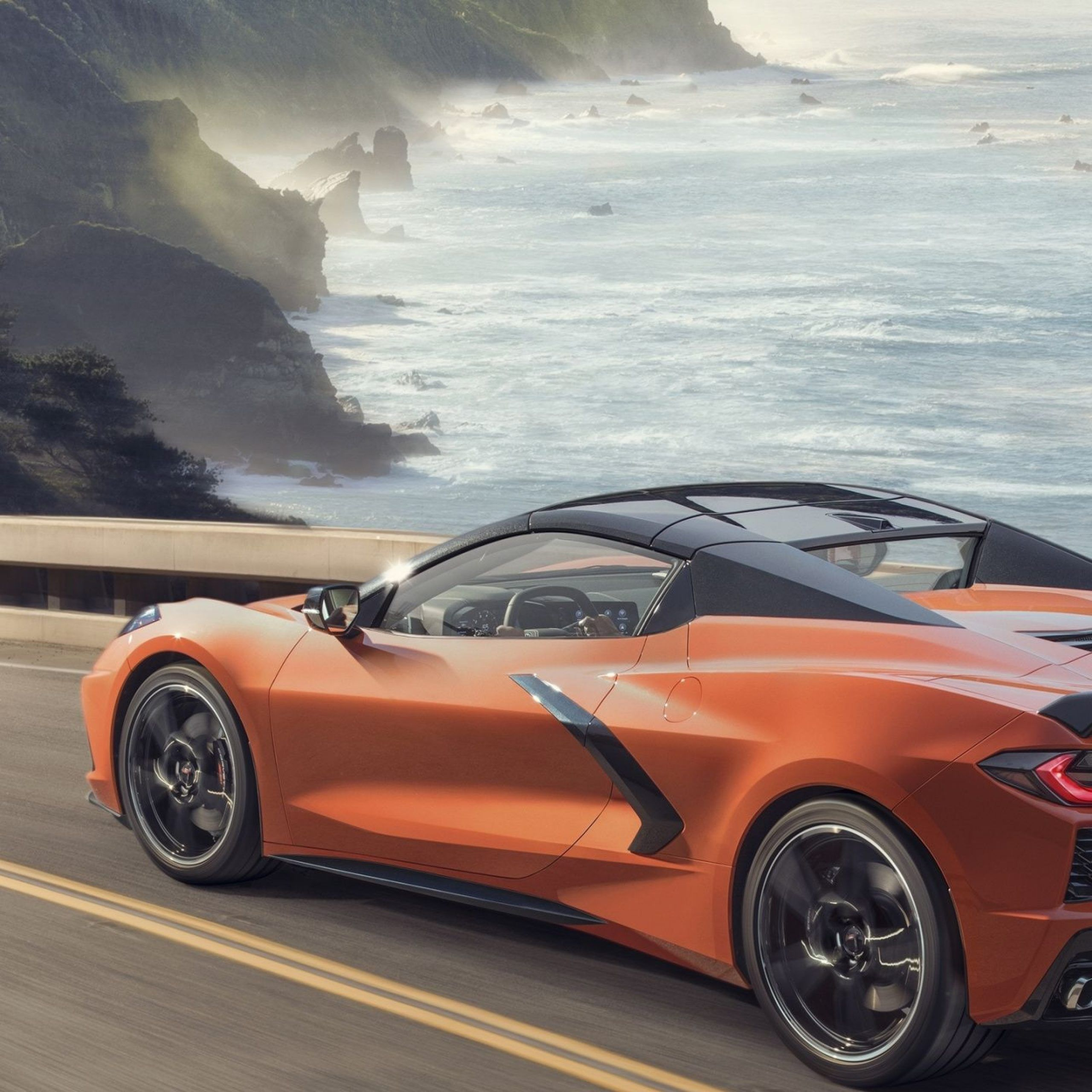1440x2880 On Road Orange Car Chevrolet Corvette C8 Wallpaper Di 2020