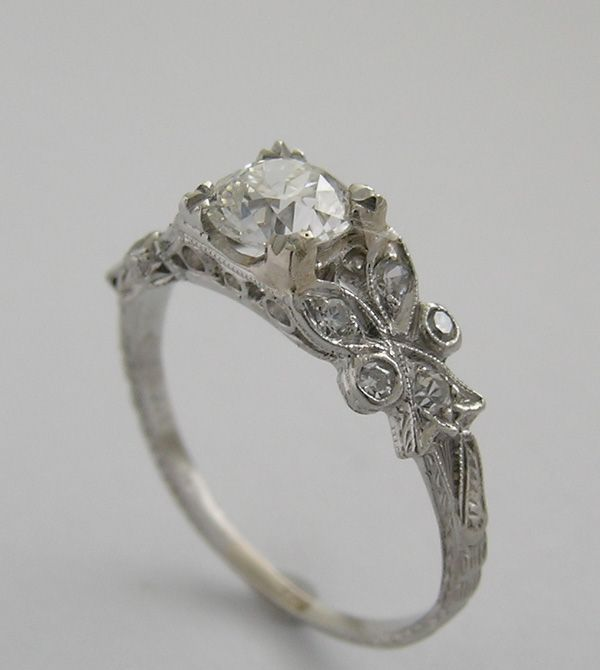 Feminine Fl Antique Diamond Engagement Ring