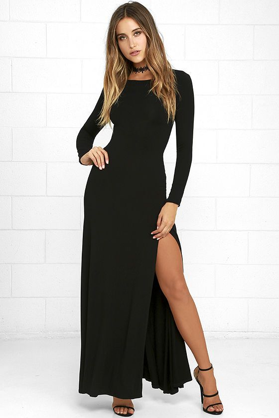 3967f6d8b55 Feel like you re walking on air in the Swept Away Black Long Sleeve Maxi  Dress! Super soft and stretchy jersey knit shapes a rounded neckline