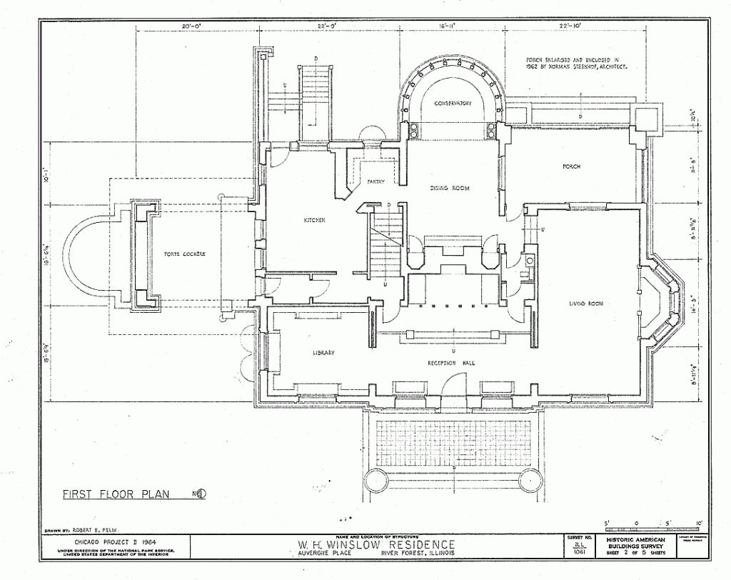 Hollyhock House Plan Plans And Section Frank Lloyd Wright For Style House Plans Gif Winslow House House Floor Plans Simple Floor Plans