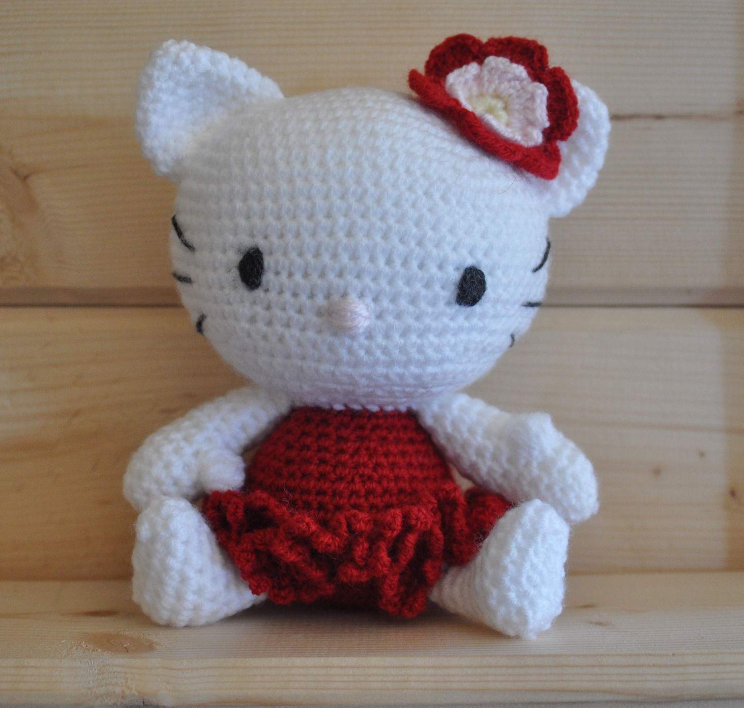 Doudou au crochet : Hello Kitty, doudou chat pour bébé dès la naissance, façon amigurumi, laines oeko-tex : Jeux, peluches, doudous par le-grenier-de-nano
