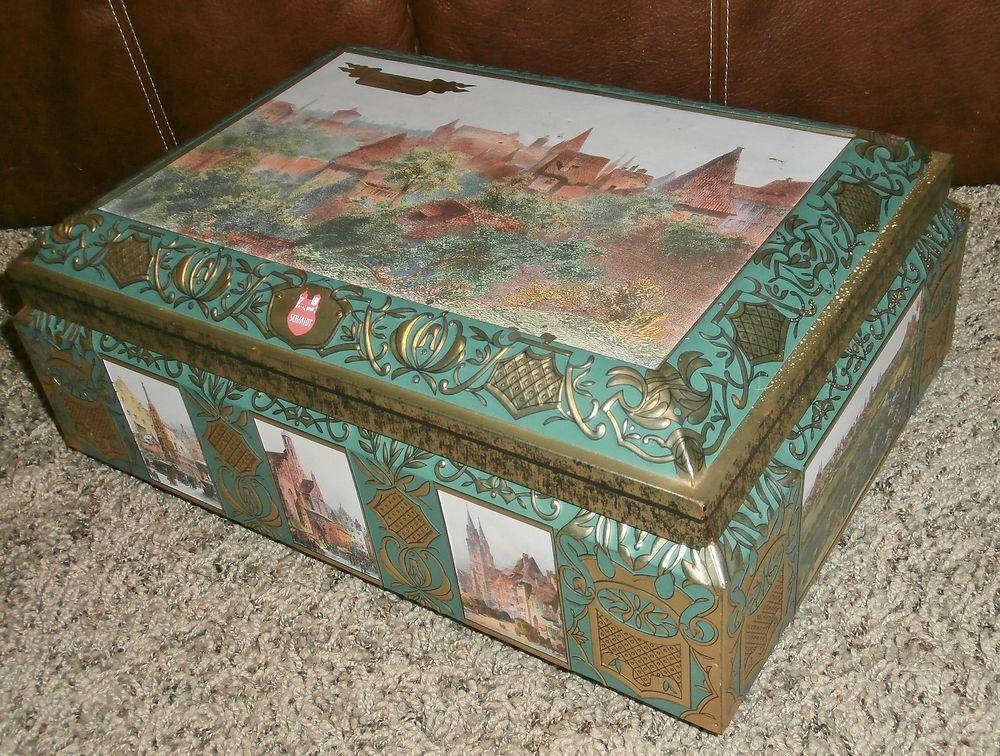 German BIG SCHMIDT Biscuit Cookie Tin Chest Candy Bin Box
