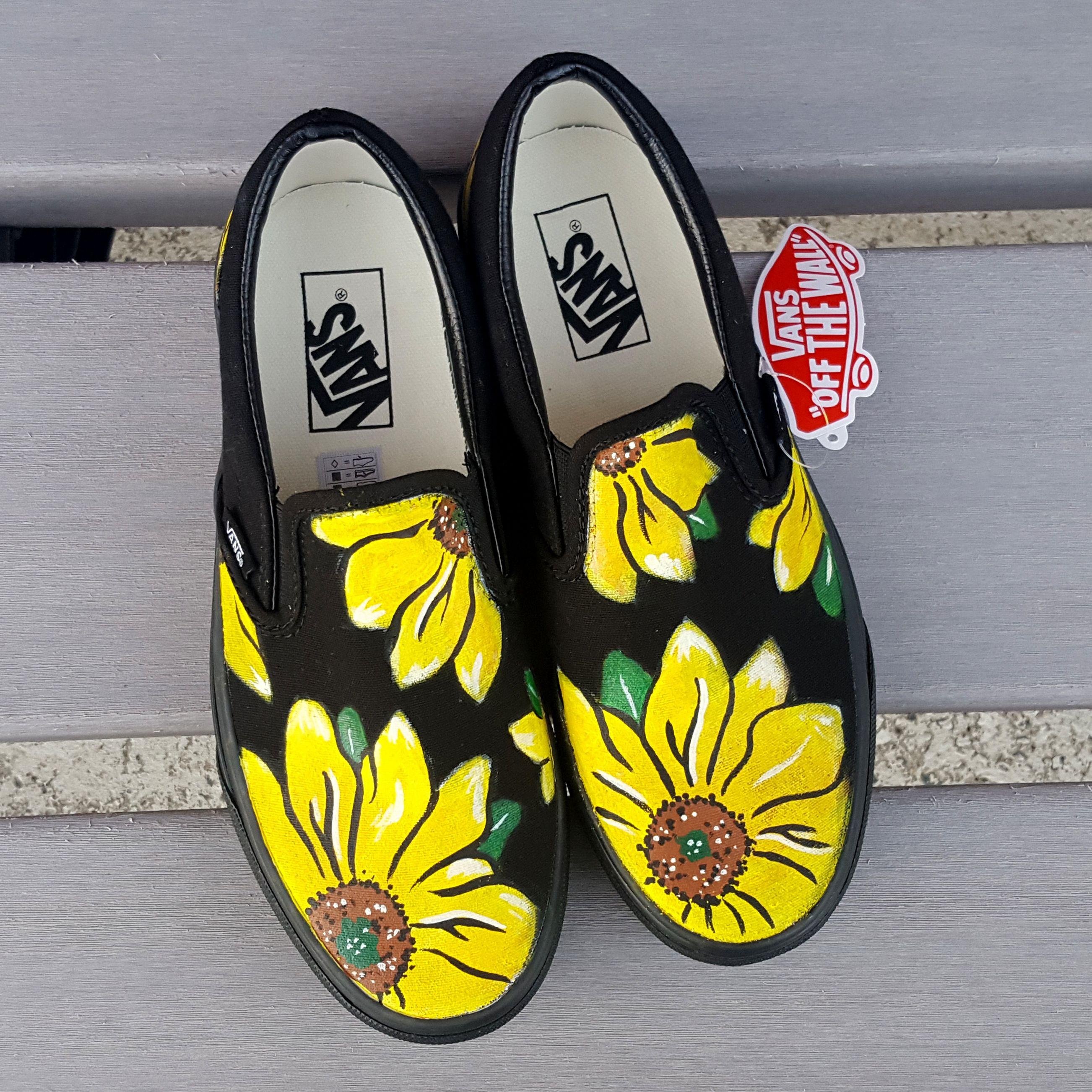 Custom Floral Vans Shoes Hand Painted