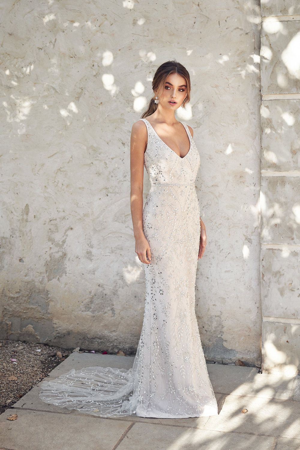 Sleeveless V Neckline Sheath Wedding Dress With Beading From Head To Toe Perfect For A Beach Wed In 2020 Stunning Wedding Dresses Wedding Dresses Anna Campbell Bridal