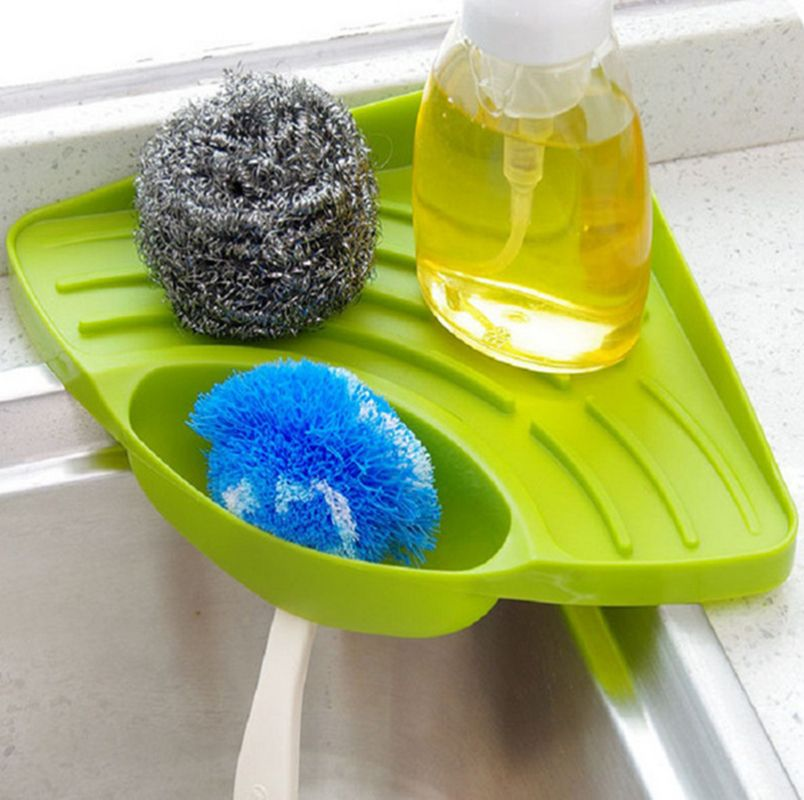 Kitchen Sink Corner Storage Rack Sponge Holder Wall Mounted Sink Organizer Bathroom Soap Dish Holder Kitchen Sink Organization Sink Organizer Sink Dish Drain
