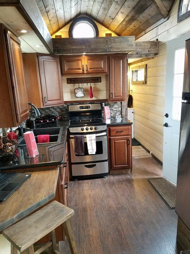Tiny house kitchen with oven and lots of cabinets by kje homes also rh pinterest