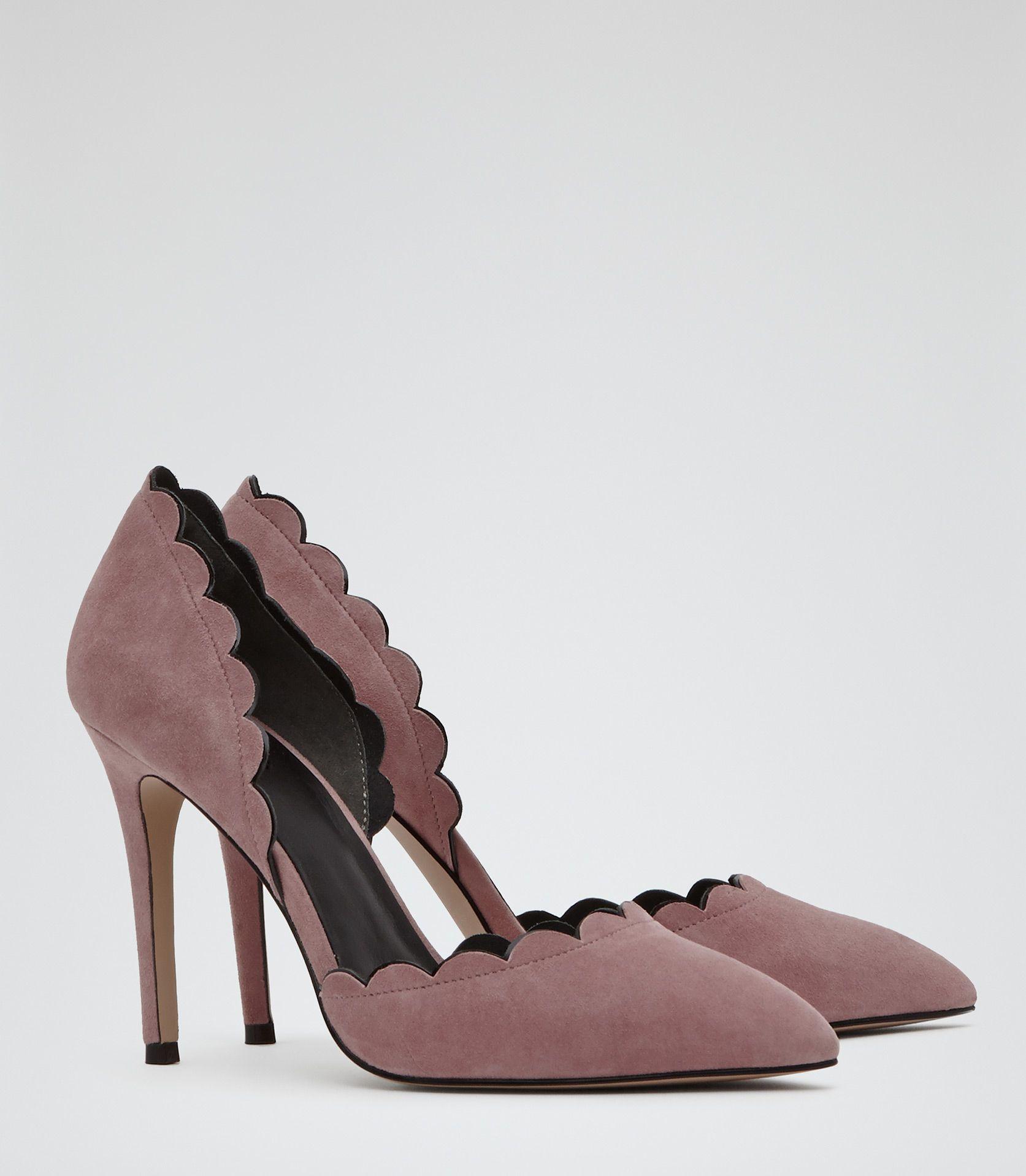 Womens Soft Pink Scallop edge Heels Reiss Libertine